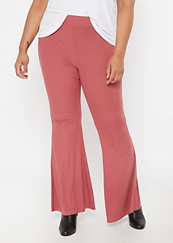 Plus Dusty Pink Ribbed Knit Flare Pants