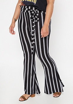 Plus Black Super Soft Striped Tie Flare Pants