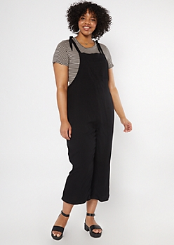 Plus Black Tie Strap Overall Jumpsuit