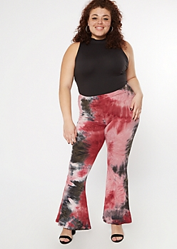 Plus Burgundy Tie Dye Stretch Flare Pants