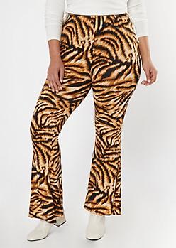 Plus Tiger Print Soft Flare Pants