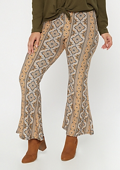 Plus Mustard Border Print Super Soft Flare Pants