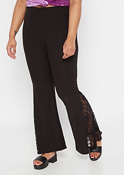 Plus Black Super Soft Lace Flare Pants