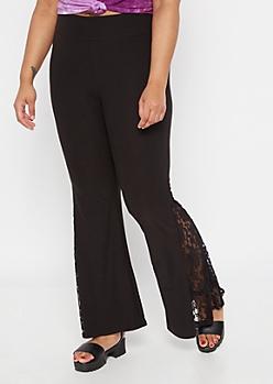 Plus Black Super Soft Lace Flare Pants
