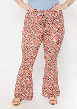 Plus Pink Paisley Print Button Down Super Soft Flare Pants