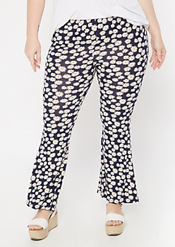Plus Navy Daisy Print Super Soft Flare Pants
