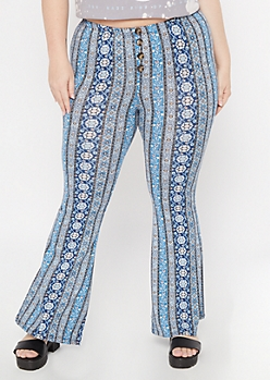 Plus Blue Paisley Striped Button Down Super Soft Flare Pants