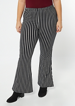 Plus Black Pinstriped Super Soft Flare Pants