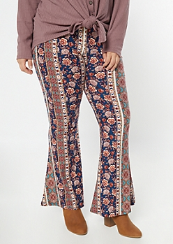 Plus Navy Striped Paisley Print Super Soft Flare Pants