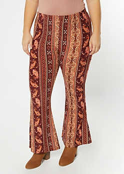 Plus Burgundy Striped Paisley Print Super Soft Flare Pants