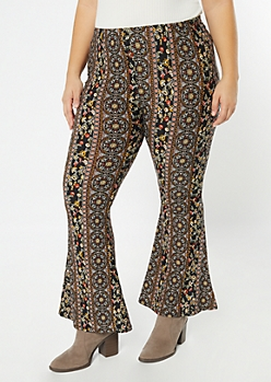 Plus Black Striped Paisley Print Super Soft Flare Pants