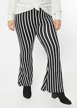 Plus Black Striped Super Soft Flare Pants