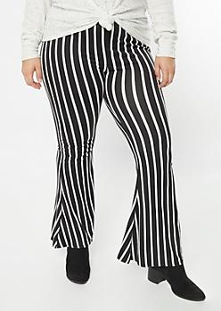 Plus Black Striped Super Soft Flare Pants