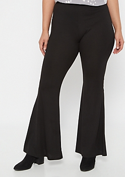 Plus Black Ribbed Knit Flare Pants