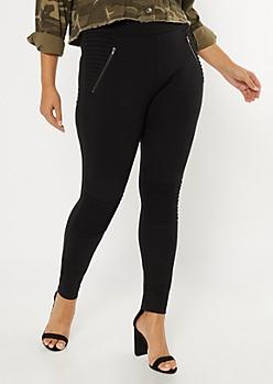 Plus Black Motto Zip Pocket Pants