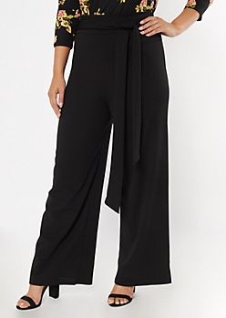 Plus Black Tie Waist Flare Pants