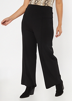 Plus Black Seam Pull On Flare Pants