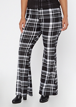 Plus Black Plaid Super Soft Pull On Flare Pants