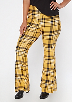 Plus Yellow Plaid Super Soft Pull On Flare Pants