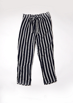 Plus Navy Striped Paperbag Waist Taper Leg Pants