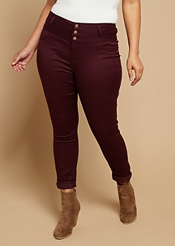 Plus Burgundy Triple Button Skinny Pants