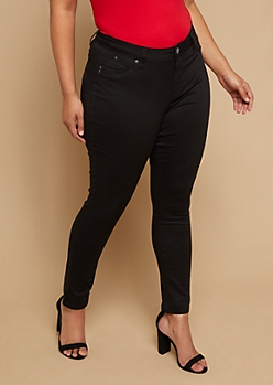 Plus YMI Wanna Betta Butt Black Mid Rise Skinny Booty Jeans