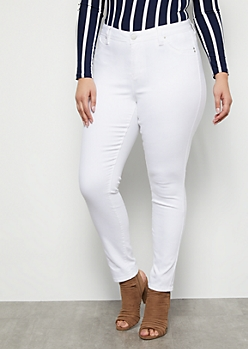Plus YMI Wanna Betta Butt White Mid Rise Skinny Booty Jeans