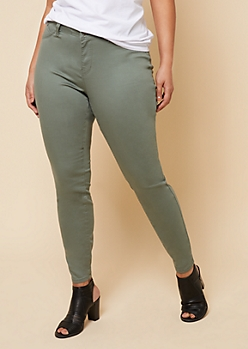 Plus YMI Wanna Betta Butt Olive Mid Rise Skinny Booty Jeans