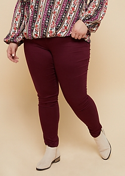 Plus YMI Wanna Betta Butt Burgundy Mid Rise Skinny Booty Jeans