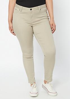 Plus YMI Wanna Betta Butt Sand Skinny Jeans