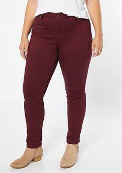 Plus YMI Wanna Betta Butt Burgundy Skinny Jeans