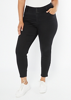 Plus Black Triple Button Skinny Jeans