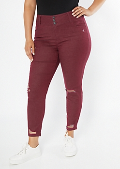 Plus Burgundy Distressed Skinny Jeans