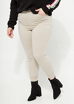 Plus Khaki High Rise Ankle Jeggings