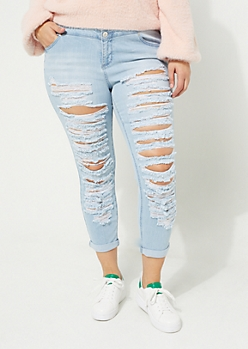 Plus Light High Rise Destroyed Triple Button Skinny Jeans in Regular