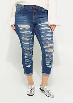 Plus Dark High Rise Destroyed Triple Button Skinny Jeans in Regular
