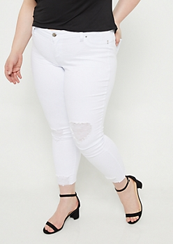 Plus YMI Wanna Betta Butt White Distressed Ankle Jeggings