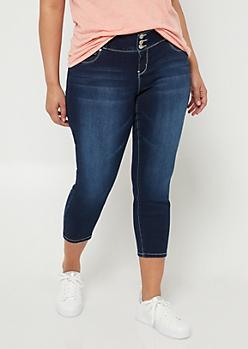 Plus Betta Butt Dark Wash Button Front Cropped Jeans