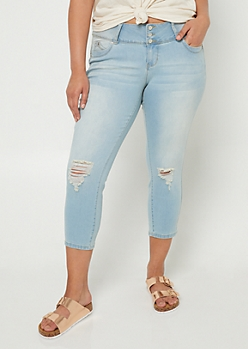 Plus YMI Wanna Betta Butt Light Wash Button Front Cropped Jeans