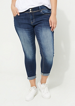 Plus Dark Wash Double Button Cuffed Jeggings in Regular