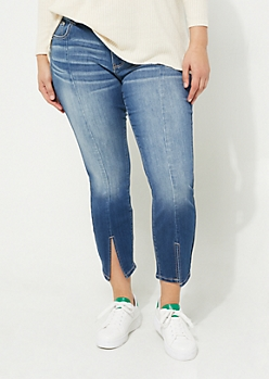 Plus Dark Wash Mid Rise Split Ankle Jeggings in Regular