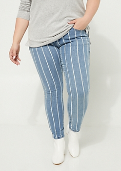 Plus Medium Wash High Rise Crop Striped Jeggings