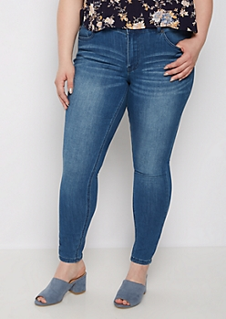 Plus Medium Wash High Waisted Jeggings in Short