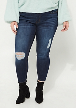 Plus Dark Wash Destroyed Mid Rise Jeggings in Short