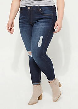 Plus Dark Wash Destroyed Mid Rise Jeggings in Regular