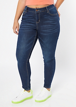 Plus Ultra Stretch Dark Wash Classic Jeggings in Short