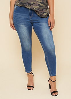 Plus Medium Wash Mid Rise Skinny Jeggings in Short
