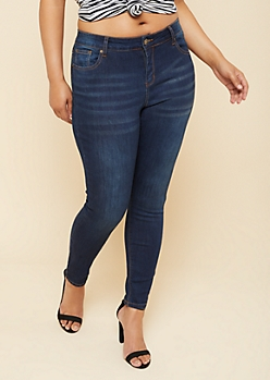 Plus Dark Wash Mid Rise Skinny Jeggings in Regular