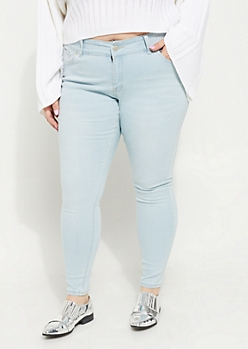 Plus Light Wash Mid Rise Ankle Jeggings