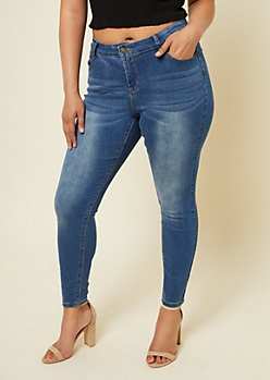 Plus Medium Wash Mid Rise Skinny Jeggings in Regular